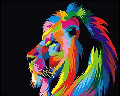 """АРМК45 11061 """"Радужный лев в профиль"""" , 40х50 см"""