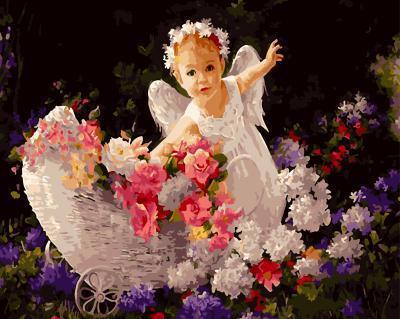 "РН GX5322 ""Девочка-ангел с корзиной цветов"", 40х50 см"
