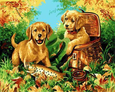 "РН GX5619 ""Две собаки и щука"", 40х50 см"