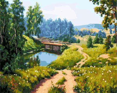 """РН GX5629 """"Мост через реку в лесу"""", 40х50 см"""
