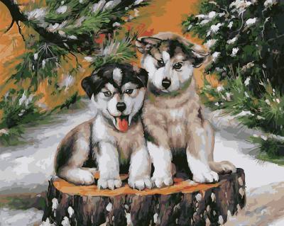 """РН GX5680 """"Два щенка на зимнем пне """", 40х50 см"""