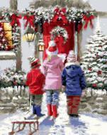 """РН GX21279 """"Дети перед дверью на Рождество"""", 40х50 см"""