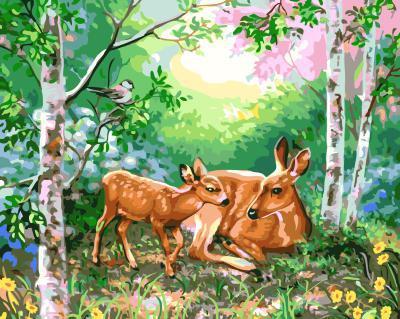 "РН GX5551 ""Олененок с мамой в лесу"", 40х50 см"