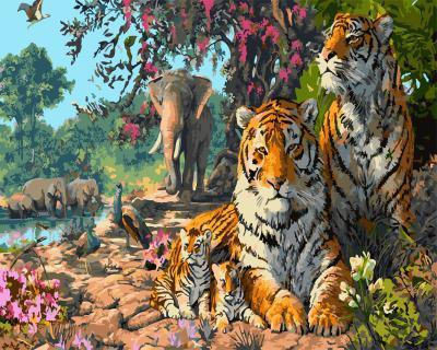 "РН GX5723 ""Тигры, слоны, павлины"", 40х50 см"