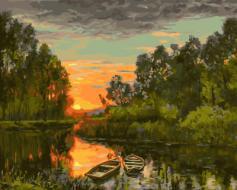 """РН GX21528 """"Две лодки на закате в лесной реке"""", 40х50 см"""
