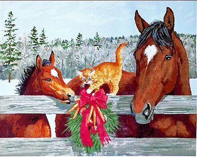 """РН GX3252 """"Две лошади и котенок"""", 40х50 см"""