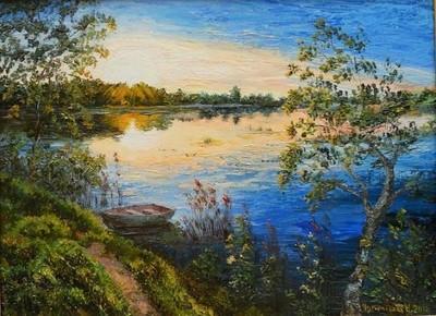 """РН GX9927 """"Лодка на утреннем озере"""", 40х50 см"""
