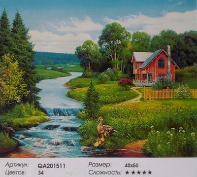 "QA201511 ""Ручей, домик, утки"", 40х50 см"