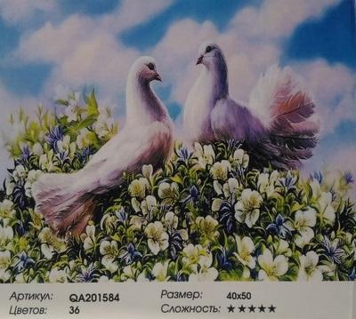 "QA201584 ""Два голубя на цветах"", 40х50 см"