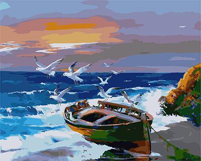 """РН GX21832 """"Чайки над лодкой на берегу"""", 40х50 см"""