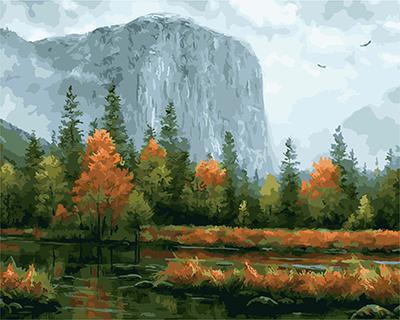 """РН GX21857 """"Осенний лес у подножия скалы"""", 40х50 см"""