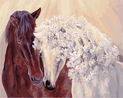 """РН GX21859 """"Конь и кучерявая лошадь"""", 40х50 см"""
