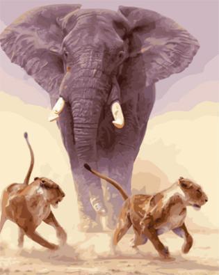 "РН GX21862 ""Слон и две львицы"", 40х50 см"