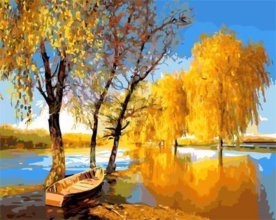"""РН GX21867 """"Золотая осень, лодка на реке"""", 40х50 см"""