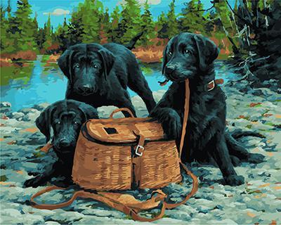 """РН GX21912 """"Три черных пса на охоте"""", 40х50 см"""