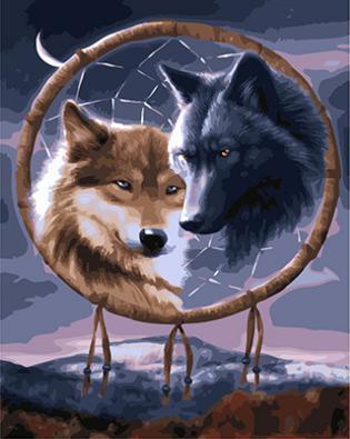 "РН GX22015 ""Ловец снов с двумя волками"", 40х50 см"