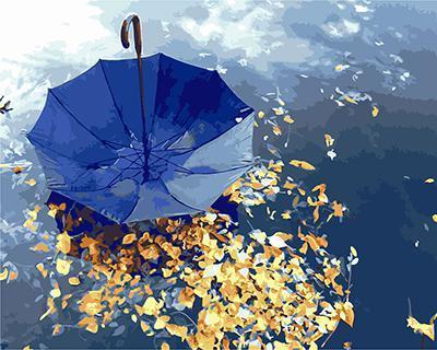 """РН GX22023 """"Синий зонт на осенней листве"""", 40х50 см"""