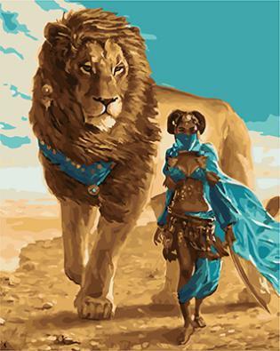 """РН GX22047 """"Девушка и лев"""", 40х50 см"""