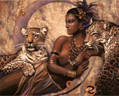 "РН GX22062 ""Принцесса и два леопарда"", 40х50 см"