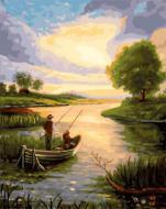 """РН GX22068 """"Рыбаки в лодке на рассвете"""", 40х50 см"""