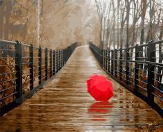 """РН GX22096 """"Красный зонт на осеннем мосту"""", 40х50 см"""