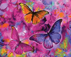 "РН GX22267 ""Три бабочки на малиновых цветах"", 40х50 см"