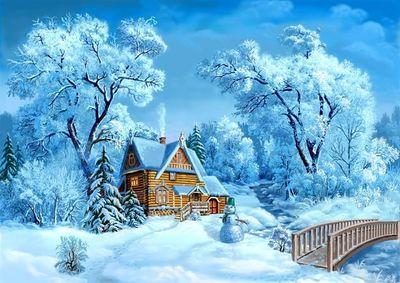 """РН GX22325 """"Дом, снеговик, мост"""", 40х50 см"""