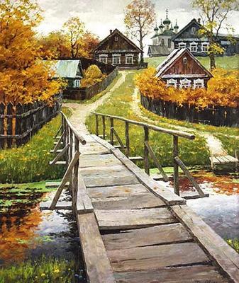 "РН GX22331 ""Деревянный мостик в деревне"", 40х50 см"