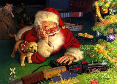 "РН GX22436 ""Дед Мороз, щенок и поезд"", 40х50 см"