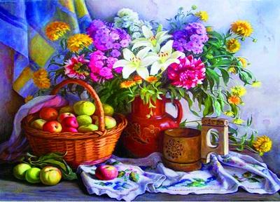 """РН GX22473 """"Цветы в кувшине, яблоки в корзине"""", 40х50 см"""