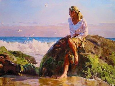 """РН GX22535 """"Девушка на камне на берегу моря"""", 40х50 см"""