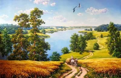 "РН GX9578 ""Повозка с сеном на фоне озера"", 40х50 см"