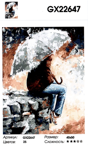 """РН GX 22647 """"Парень под зонтом сидит на кирпичах"""", 40х50 см"""