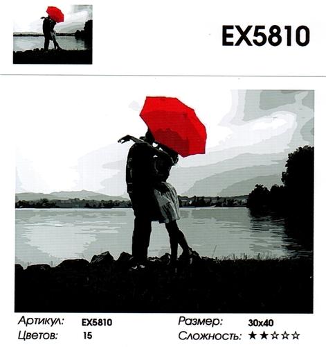 """РЗ EХ5810 """"Поцелуй под красным зонтом на берегу """", 30х40 см"""