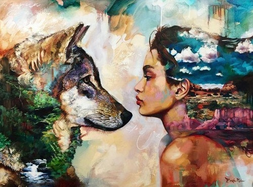"АРМК ""Девушка смотрит на волка"", 40х50 см"