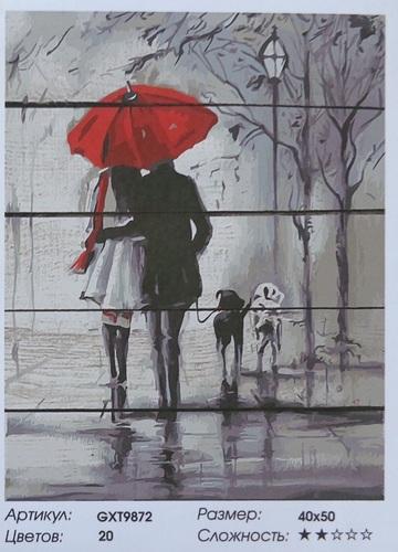 """РД GXT9872 """"Пара под зонтом в собакой"""", 40х50 см"""