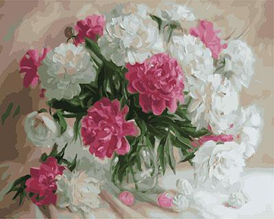 """РН GX23799 """"Белые и розовые пионы"""", 40х50 см"""