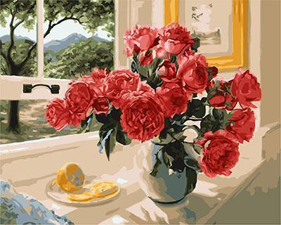 """РН GX23853 """"Красные пионы на окне, лимон"""", 40х50 см"""