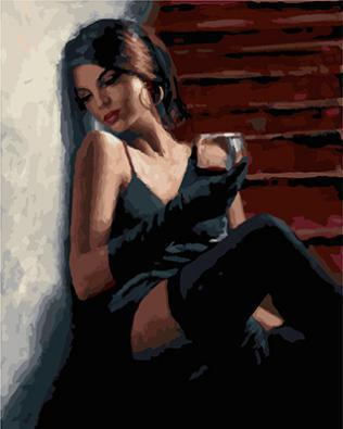 """РН GX24037 """"Девушка с бокалом вина на лестнице"""", 40х50 см"""