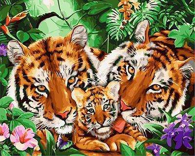 "РН GX24183 ""Тигриная семья в джунглях"", 40х50 см"