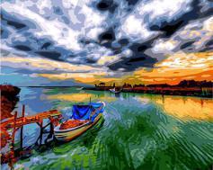 """РН GX24249 """"Лодка, разноцветный закат"""", 40х50 см"""