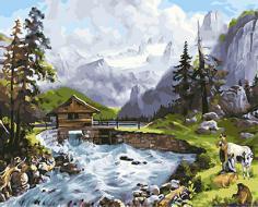 """РН GX24317 """"Домик в горах на реке"""", 40х50 см"""