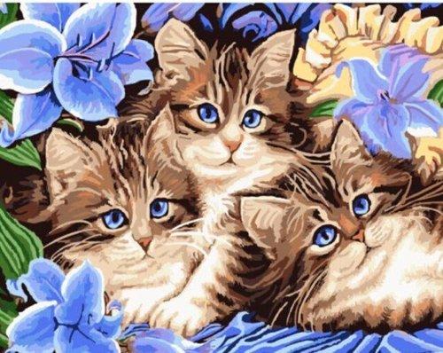 """РН GX3071 """"Три котенка в синих цветах"""", 40х50 см"""