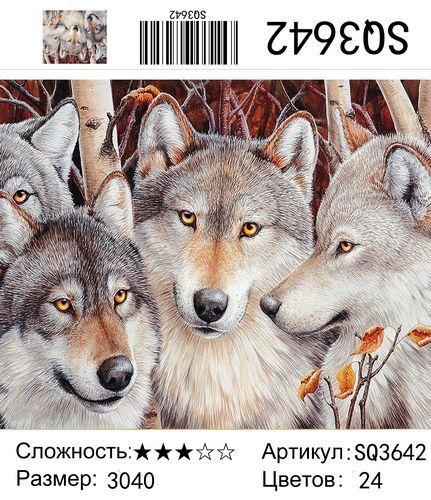 """РЗ SQ3642 """"Три волка осенью"""", 30х40 см"""
