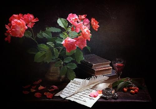 "РН GX24608 ""Розы, письмо, чернильница с пером"", 40х50 см"