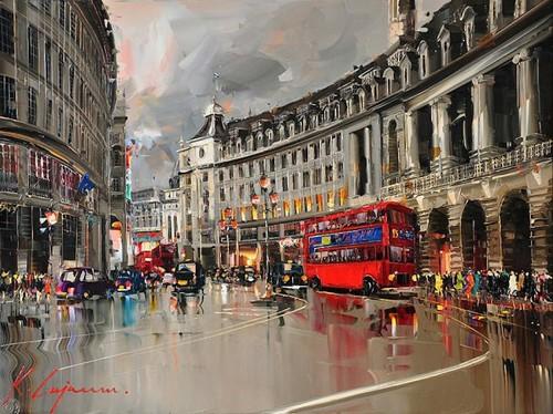 """РН GX4357 """"Красный автобус, люди на улице, дождь"""", 40х50 см"""