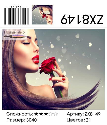 "АМ34 ZX8149 ""Девушка и красная роза"", 30х40 см"