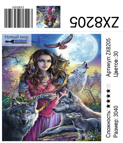 "АМ34 ZX8205 ""Девушка на фоне луны с волками"", 30х40 см"