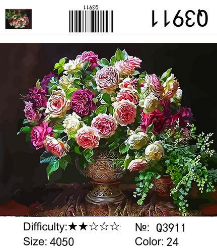 "РН Q3911 ""Розы на темном фоне"", 40х50 см"