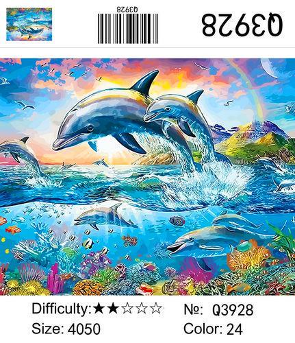"""РН Q3928 """"Дельфины выпрыгнули из воды"""", 40х50 см"""